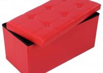 Pouf a Contenitore Rettangolare in ecopelle rosso
