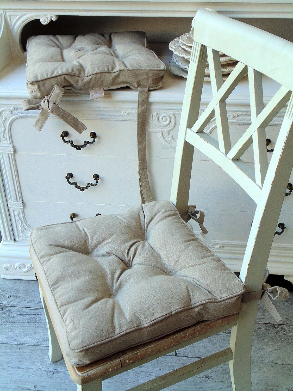 Cuscini per sedie shabby homehome for Cuscini country chic