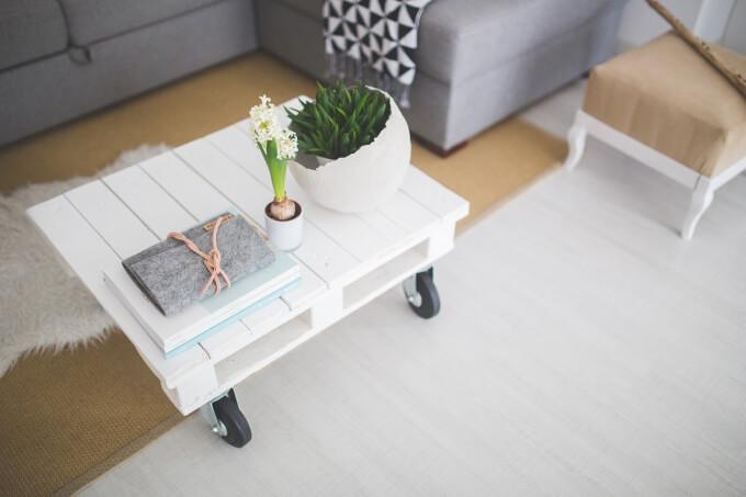 Ufficio Bianco E Grigio : Happy home products tavolino da caffè set di 2 tavolini finitura